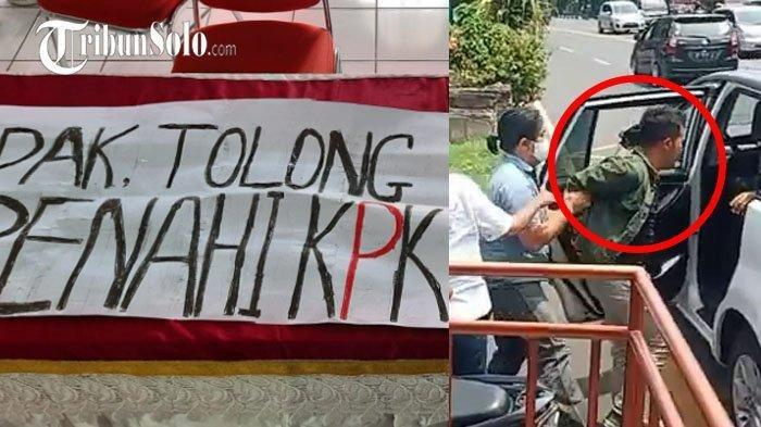 Sejumlah mahasiswa UNS diciduk aparat yang diduga polisi, di tengah kunjungan Presiden Jokowi ke Solo, Senin (13/9/2021). Para mahasiswa itu membawa poster uang ditujukan untuk Presiden Jokowi.