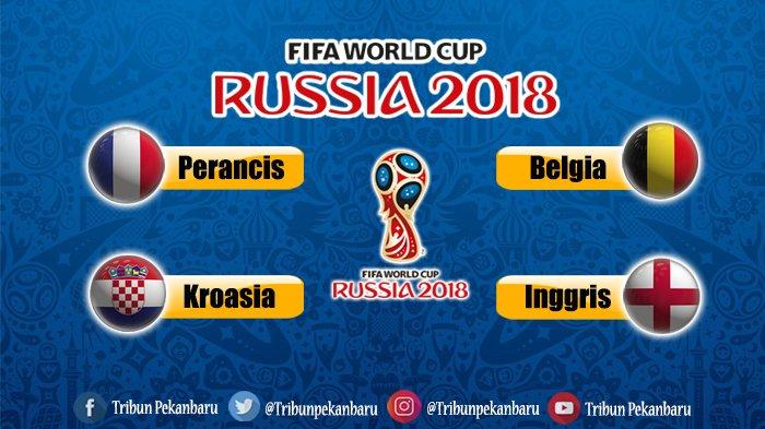 Jadwal Live Semifinal Piala Dunia 2018, Prancis Vs Belgia dan Kroasia Vs Inggris