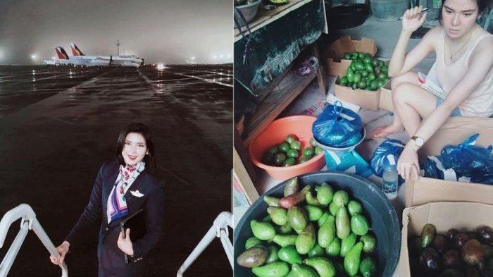 Kolase foto Marielle Enrique alias Em Enrique , seorang pramugari asal Filipina yang berjualan alpukat karena dipecat dari perusahaan tempat dia bekerja.