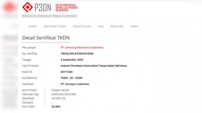 Sertifikat TKDN yang didaftarkan oleh Samsung Indonesia untuk perangkat Galaxy S20 Fan Edition