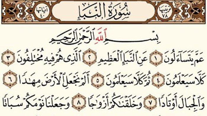 Bacaan Surat An Naba Ayat 1-40, Tulisan Latin, Arab dan Terjemahan Serta Keutamaan Surat An Naba
