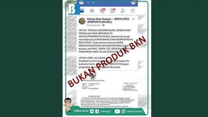 Waspada! Surat Edaran soal Honorer di Atas 35 tahun Diangkat PNS Tanpa Tes Bukanlah Produk BKN