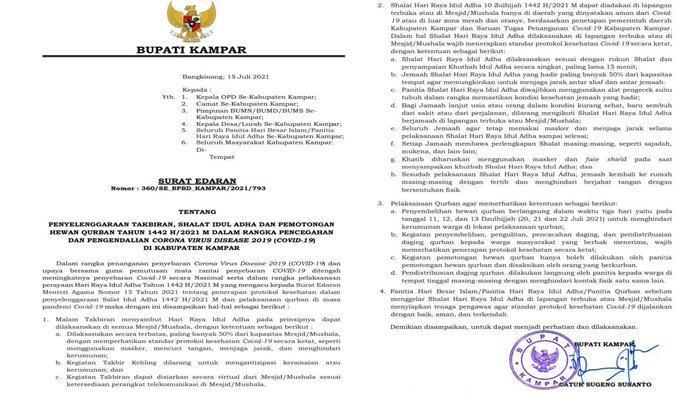 Surat Edaran Bupati Kampar: Takbiran, Sholat Idul Adha dan Pemotongan Hewan Kurban Taati Prokes