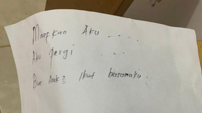 Sebelum Akhiri Hidupnya dan 2 Anaknya, IRT Muda di Pekanbaru Tulis Pesan di Atas Kertas Putih Ini