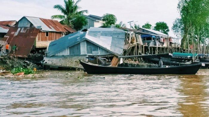 Update Longsor Seberang Tembilahan Inhil, 10 Rumah Rusak dan 5 Rumah Terdampak