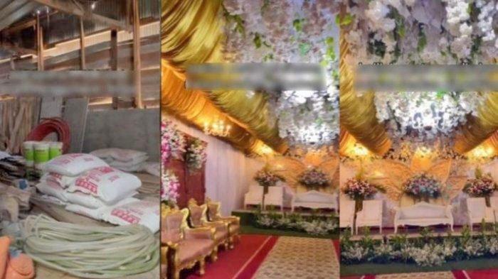 Tangkapan layar video viral di TikTok kandang ayam disulap jadi tempat pesta pernikahan