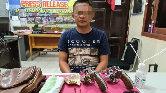 Tidak Hanya Narkotika, Pengedar di Kampar Riau Ini Juga Simpan Senjata Api