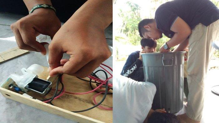 Tim Kukerta Balek Kampung UNRI Membuat Alat Pencuci Tangan Otomatis untuk Warga
