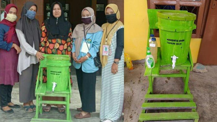 Tim Kukerta Relawan Covid-19 UNRI Buat Hand Sanitizer dari Daun Sirih dan Tempat Cuci Tangan