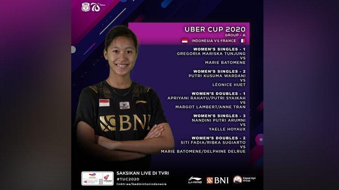 Siaran Langsung Piala Uber Cup 2020 TVRI Pukul 13.30 WIB, Ada Rotasi Tim, Apriyani/Putri Syaikah
