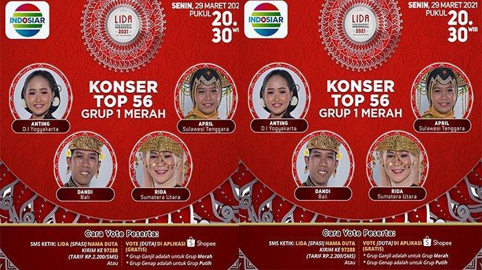 Live LIDA 2021 Malam Ini, Ada Anting, April, Dandi dan Rida di TOP 56 Grup 1 Merah, Siapa Lolos?