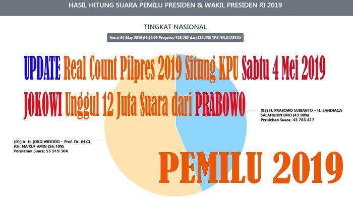 UPDATE Real Count Pilpres 2019 Situng KPU Sabtu 4 Mei 2019, JOKOWI Unggul 12 Juta Suara dari PRABOWO