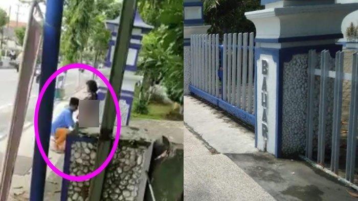 VIDEO VIRAL Wanita Diam Saja Saat Celananya Dipeloroti Pria Berpeci di Pintu Gerbang Dinas Pertanian