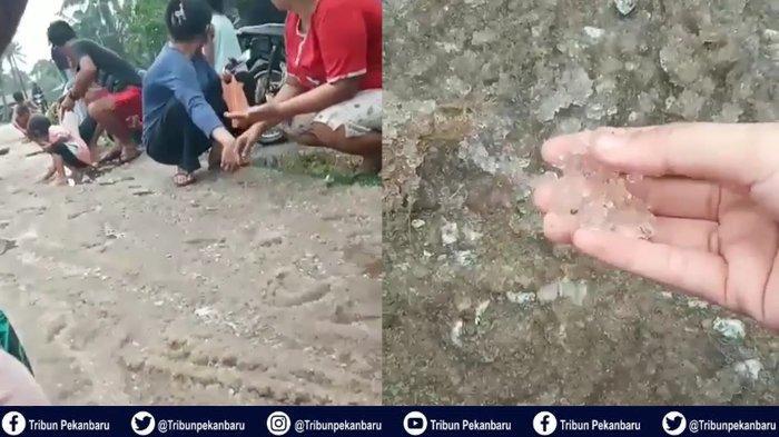 Viral Video Hujan Es di Riau, Warga Pelalawan Pungut Butirannya di Jalan, Ternyata Ini yang Terjadi