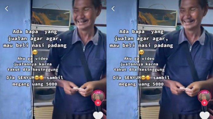 Viral video penjual agar-agar beli nasi padang dengan uang Rp 5 ribu. Kini penjual tersebut mendapat donasi Rp 100 juta lebih.