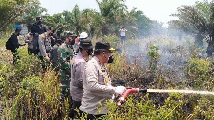 Wakapolda Riau Tinjau Karhutla di Dumai, Berpesan Hal Ini Kepada Masyarakat