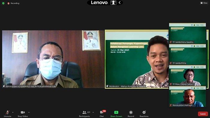 Kadisdik Siak Ikut Webinar Atasi Learning Loss dengan Tanoto Foundation,Ini Katanya Soal Tatap Muka