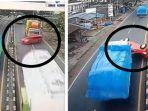 VIDEO Salip Truk dari Kiri, Mobil Merah Tersenggol dan Terguling Hingga Pindah Jalur