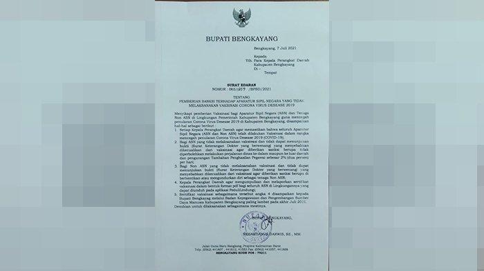 Bupati Darwis Keluarkan Surat Edaran, Sanksi Bagi ASN dan Non ASN Tidak Melaksanakan Vaksinasi