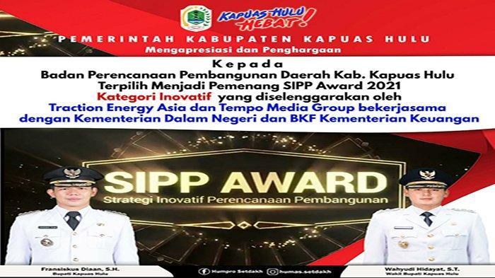 Perencanaan Pembangunan di Kapuas Hulu Raih Pemenang SIPP Award Katagori Inovatif