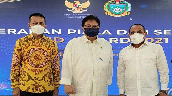 Menteri Koordinator Bidang Perekonomian Airlangga Hartarto, saat menghadiri kegiatan Penyaluran KUR Klaster di Kota Medan, Sumatera Utara, Kamis 9 September 2021.