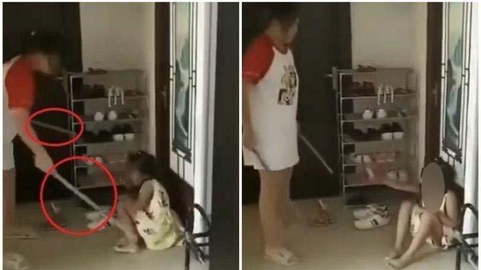 KEJAM ! Aksi Ibu Siksa Tiga Anak Viral Media Sosial Facebook, Membabi Buta Pukul Anak Pakai Tongkat