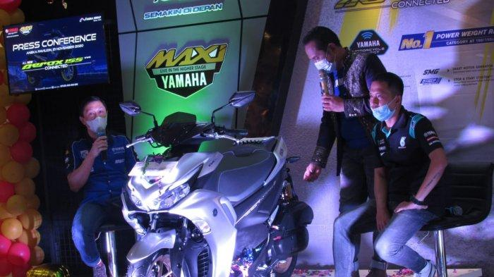 PT. Aneka Makmur Sejahtera (Yamaha Motor) menggelar Press Conference peluncuran All New Aerox 155, di Aneka Pavilion Kota Baru, Jalan Sultan Abdurrahman Pontianak Kalimantan Barat, Sabtu 21 November 2020.