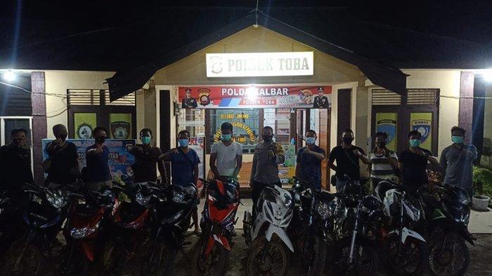 Jajaran Polres Sanggau yakni Polsek Toba dibantu Polsek Tayan Hilir dan Polsek Meliau berhasil mengamankan belasan sepeda motor, Selasa 16 Februari 2021
