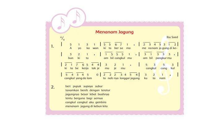 Amatilah teks notasi angka Menanam Jagung.