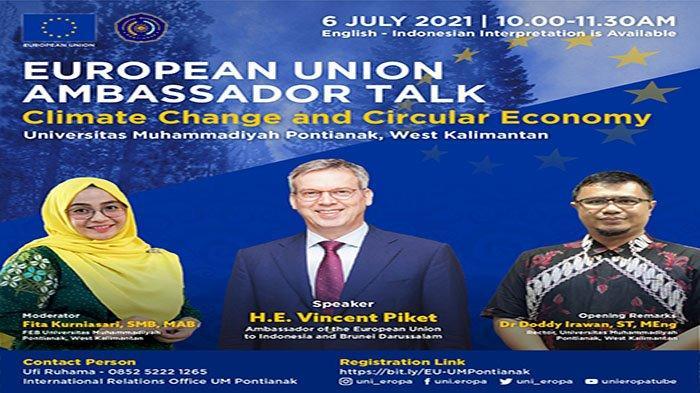 """Webinar bertajuk Ambassador Talk dengan tema """"Climate Change and Circular Economy"""" dan berlangsung melalui platform zoom meeting."""