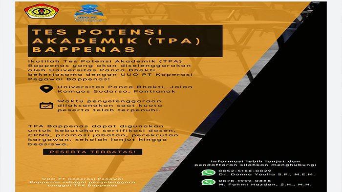UPB Pontianak Buka Pendaftaran Tes Potensi Akademik Kerja Sama Bappenas