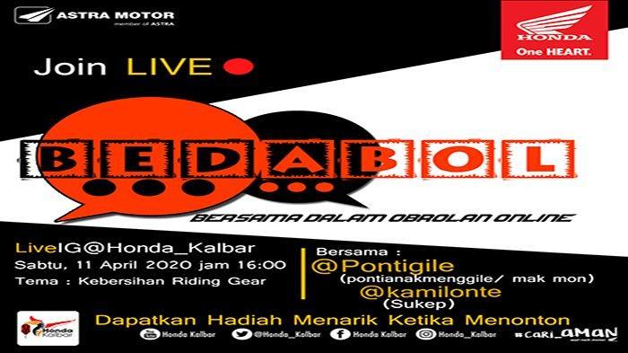 BERHADIAH Menarik & Uang Tunai, Ikut Live IG Honda Kalbar BEDABOL Sabtu (11/4) | Ada Sukep & Mak Mon