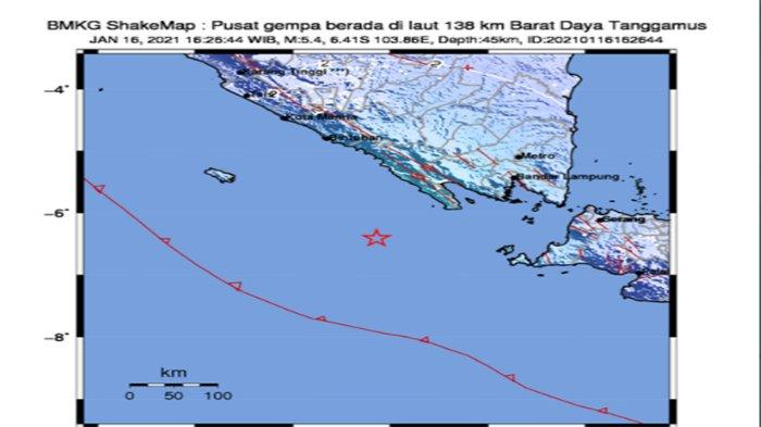 Dua Gempa Lampung Terbaru Magnitudo 5 4 Setelah Pesisir Barat Kembali Guncang Tanggamus Tribun Pontianak