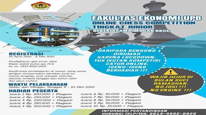 Fakultas Ekonomi UPB Pontianak Gelar Kompetisi Catur Online Tingkat Junior, Buruan Daftar !