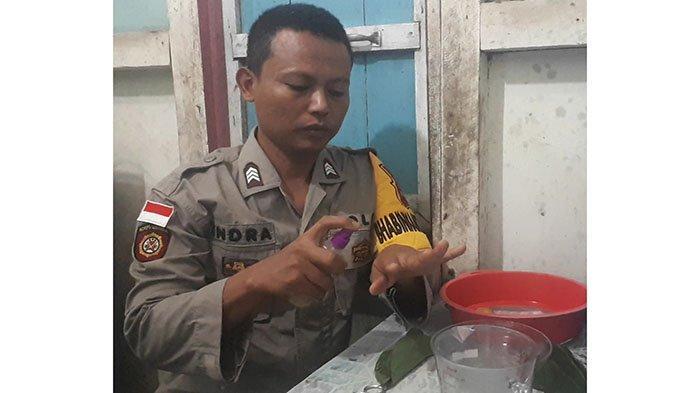 Manfaatkan Bahan Alam, Bhabinkamtibmas Inisiatif Buat Hand Sanitizer dari Daun Sirih & Jeruk Nipis