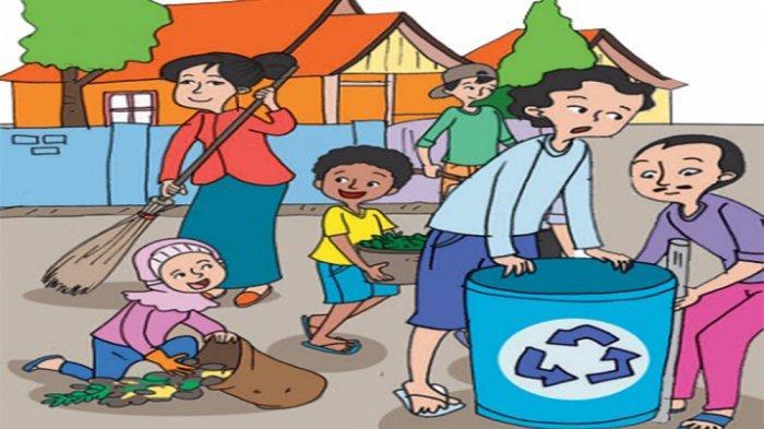 ilustrasi saling membantu dalam membersihkan lingkungan.