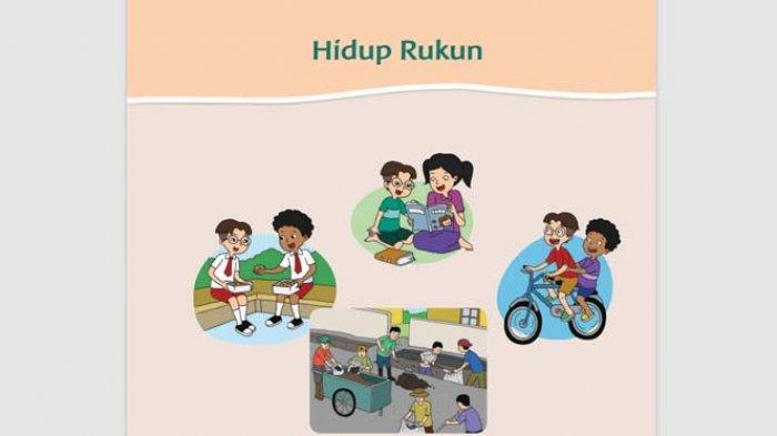 Buku Tematik Tema 1 Kelas 1 SD Tentang Hidup Rukun.