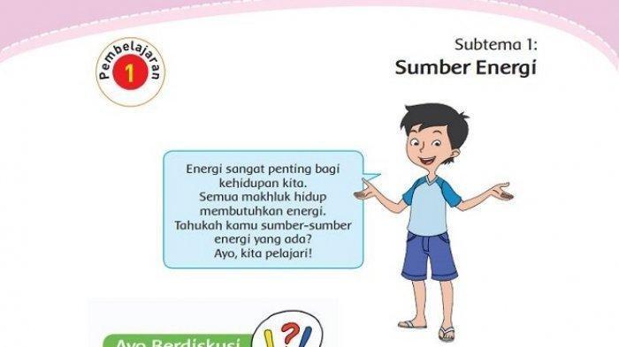 Kunci Jawaban Tema 2 Kelas 4 Halaman 2 3 4 5 6 7 8 Buku Tematik Subtema 1: Sumber Energi