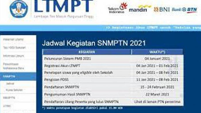 Cara Mendaftar Snmptn 2021 Lengkap Syarat Dan Jadwal Daftar Snmptn Login Https Snmptn Ltmpt Ac Id Tribun Pontianak