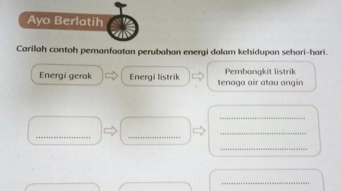 Carilah Contoh Pemanfaatan Perubahan Energi dalam Kehidupan Sehari-hari, Jawaban Tema 9 Kelas 4