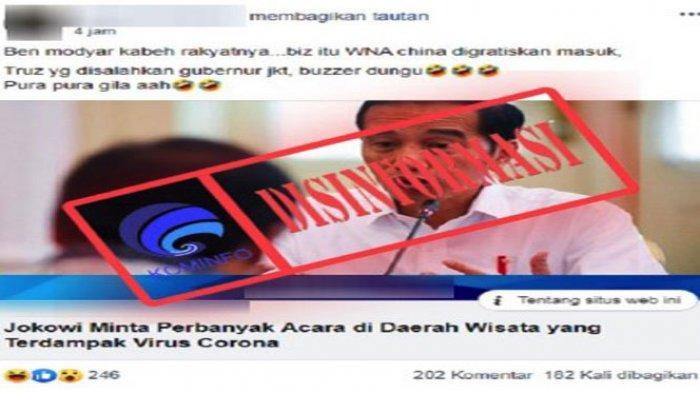 CEK FAKTA - Jokowi Minta Perbanyak Acara Wisata Agar Banyak Rakyat Tewas Karena Corona