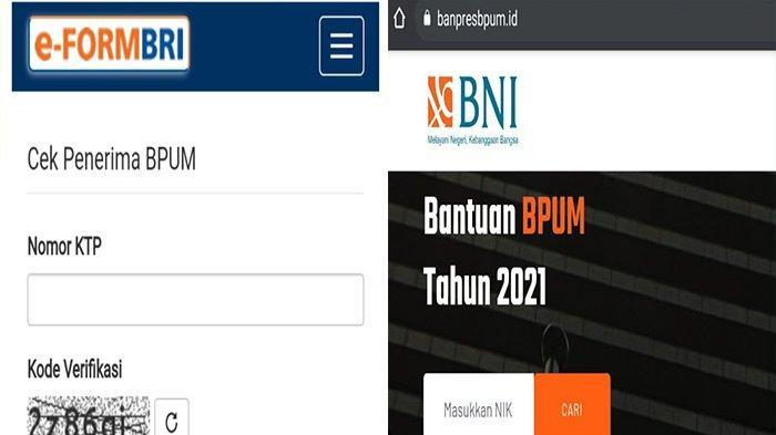 Cek Penerima BPUM Eform BRI Tahap 3 dan Banpres BPUM BNI Login eform.bri.co.id/bpum & banpresbpum.id