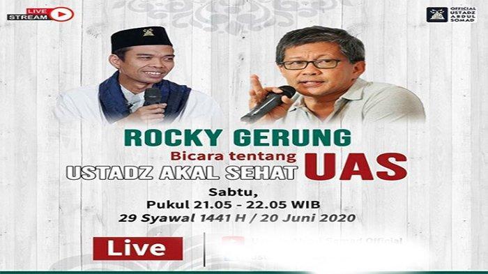 SIMAK Diskusi Ustaz Abdul Somad (UAS) dan Rocky Gerung (RG) Live YouTube, Bahas Ini   Sedang Live FB