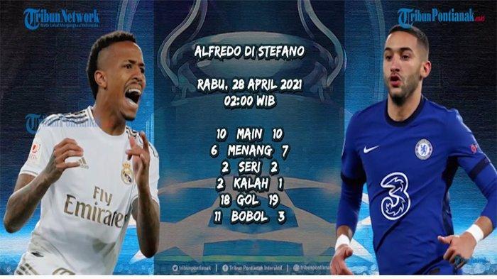 Chelsea menghadapi Real Madrid dalam laga leg pertama semifinal Liga Champions 2020-2021, di Markas Real Madrid, Stadion Alfredo Di Stefano, Rabu 28 April 2021, pukul 02.00 WIB.