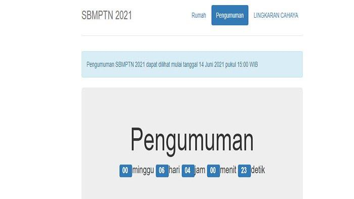 COUNTDOWN Pengumuman SBMPTN 2021.