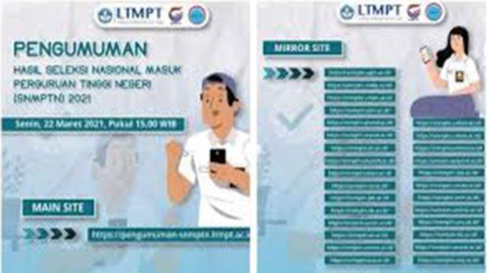Daftar Link 28 Laman Mirror Pengumuman SNMPTN 2021, Cek Cara Melihat Hasil SNMPTN 2021