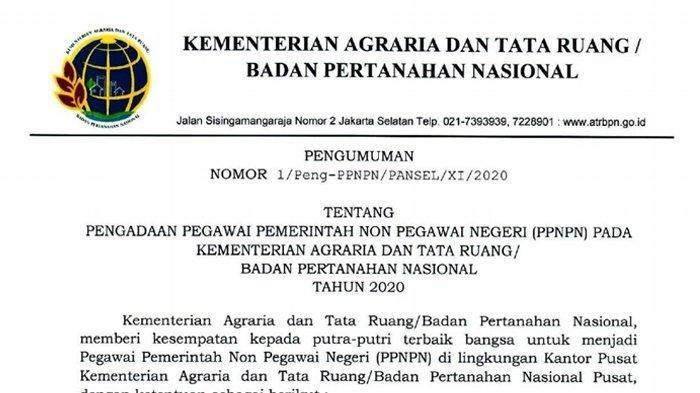 Link pttbiroorpeg.atrbpn.go.id Daftar Online Rekrutmen PPNPN Kementerian Agraria dan Tata Ruang BPN
