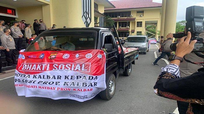 Peringati May Day, Polda Kalbar Salurkan Bantuan 7 Ton Beras Kepada Aliansi Buruh di Kalbar