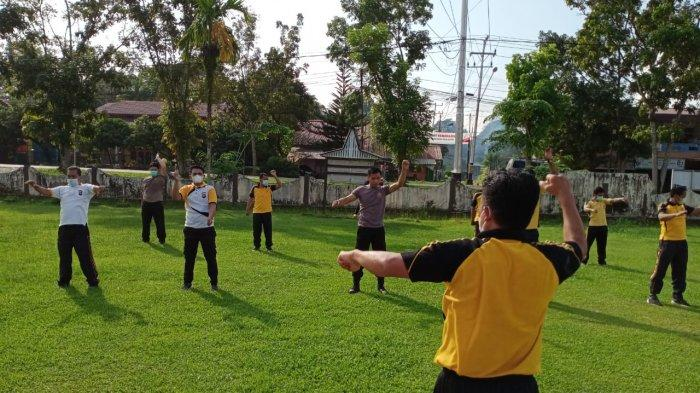 Jaga Imunitas Tubuh Dimasa Pandemi, Polsek Bengkayang Laksanakan Olahraga Pagi