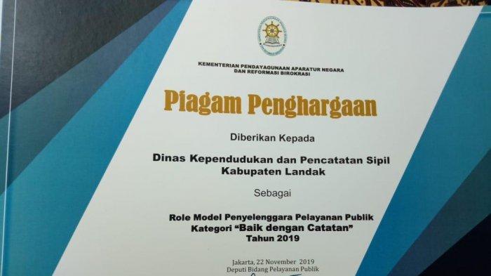 Raih Penghargaan Pelayanan Publik, Disdukcapil Landak Komitmen Tingkatkan Pelayanan